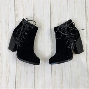 Volatile Black Side Lace Heeled Booties